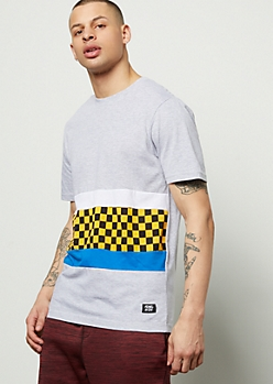 Heather Gray Checkered Print Colorblock Tee