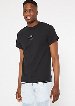 Black Leave Me Alone Embroidered Tee