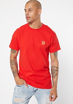 Red Drink Embroidered Tee