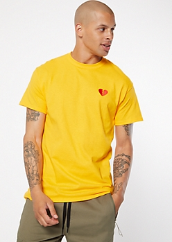 Mustard Broken Heart Embroidered Tee