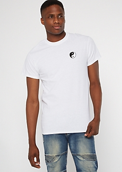 White Yin Yang Embroidered Tee