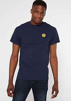 Navy Smiley Patch Embroidered Tee