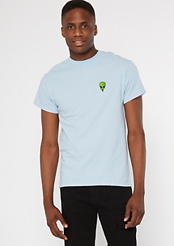 Blue Alien Embroidered Tee