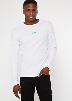 White Long Sleeve Culture Embroidered Tee