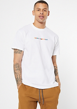 White Recycle Toxic World Embroidered Tee