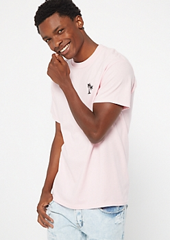 Pink Palm Tree Embroidered Tee