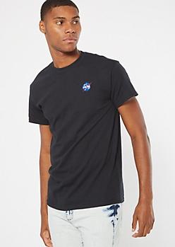 Black NASA Embroidered Logo Tee