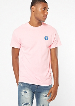 Pink Short Sleeve Donut Embroidered Tee