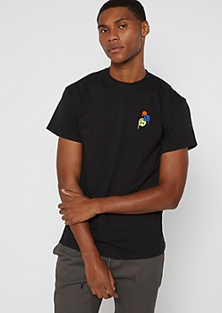 Black Stack Smiley Embroidered Tee