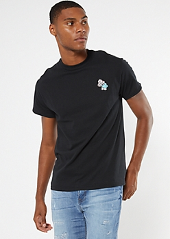 Black Embroidered Mushroom Tee
