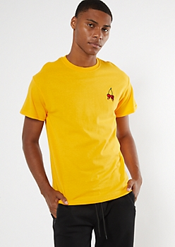 Yellow Drippy Cherry Embroidered Tee