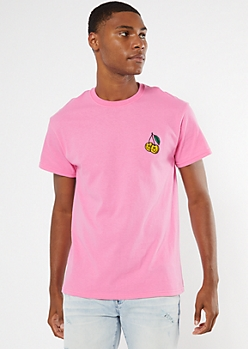 Pink Smiley Cherry Embroidered Tee