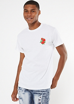 White Embroidered Rose Trio Tee