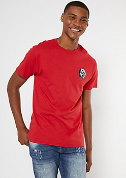 Red Embroidered Drip Scorpion Yin Yang Tee