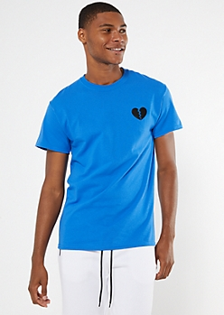 Royal Blue Embroidered Broken Heart Tee