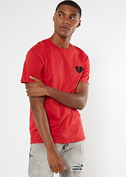 Red Embroidered Broken Heart Tee