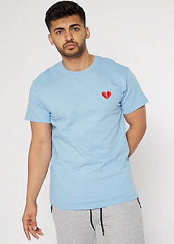 Blue Embroidered Broken Heart Tee
