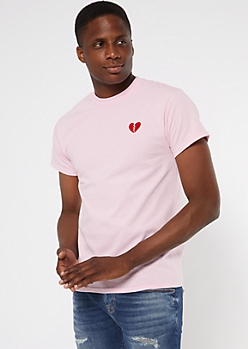 Pink Broken Heart Embroidered Patch Tee