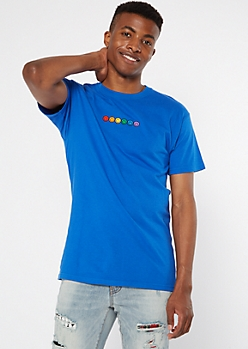 Blue Rainbow Pride Smiley Face Embroidered Tee
