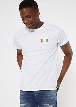 Rainbow Pride Barcode Embroidered White Tee
