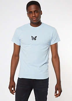 Light Blue Skeleton Butterfly Embroidered Patch Tee