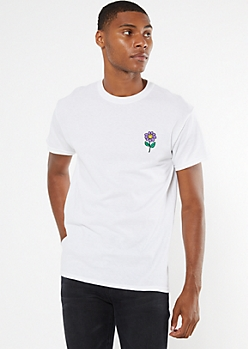 White Embroidered Smiley Face Daisy Tee