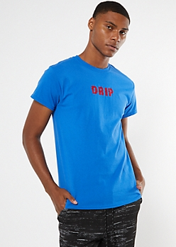 Royal Blue Drip Embroidered Tee