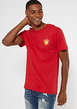 Red Embroidered Stay Trippy Smiley Face Tee