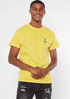 Yellow We Outta Here Alien Embroidered Tee