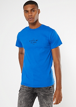 Blue Embroidered Leave Me Alone Tee