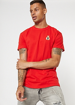 Red Money Bag Embroidered Tee