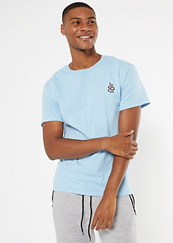 Blue Snake Embroidered Tee