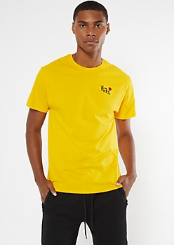 Yellow Embroidered LA Rose Tee