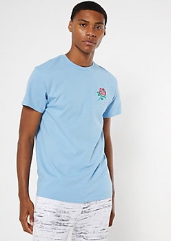 Blue Rose Embroidered Tee