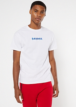 Savage White Embroidered Tee