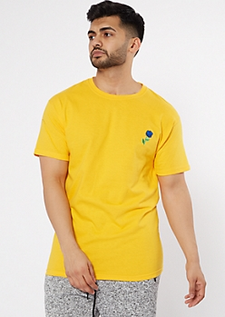 Yellow Embroidered Blue Rose Tee