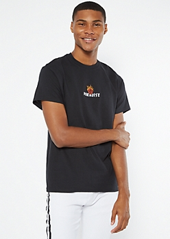 Black Paradise Flaming Rose Embroidered Tee