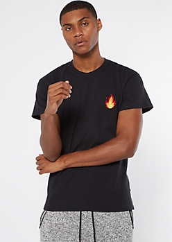 Red Flame Emoji Embroidered Tee
