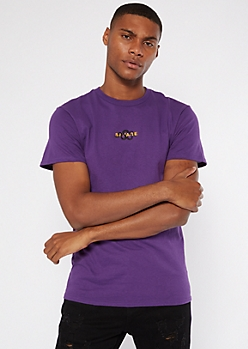 Purple Savage Snake Embroidered Tee