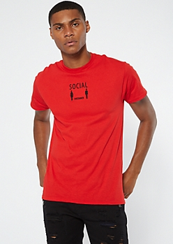 Red Social Distance Embroidered Tee