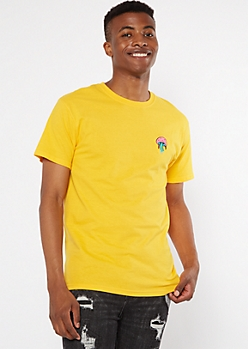 Yellow Melted Mushroom Embroidered Tee