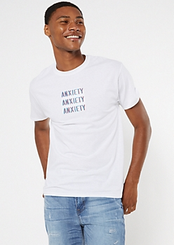 White Repeating Anxiety Embroidered Tee