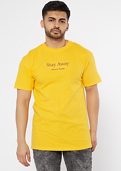 Yellow Stay Away Embroidered Tee