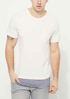 White Striped Double Layer Single Pocket Knit Tee
