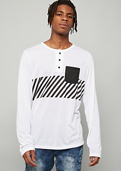 White Diagonal Striped Pocket Henley Tee