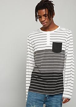 Gray Colorblock Striped Pocket Henley Tee