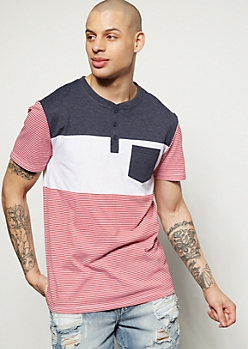 Red Striped Colorblock Henley Tee