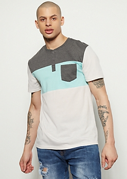 Mint Striped Colorblock Henley Tee