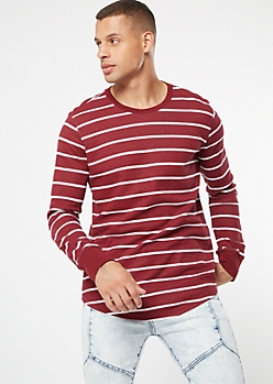 Burgundy Striped Crew Neck Thermal Top