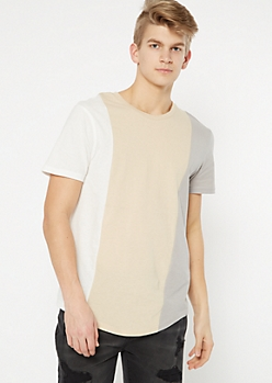 Sand Vertical Colorblock Tee